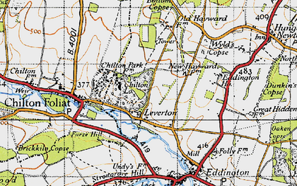Old map of Chilton in 1945