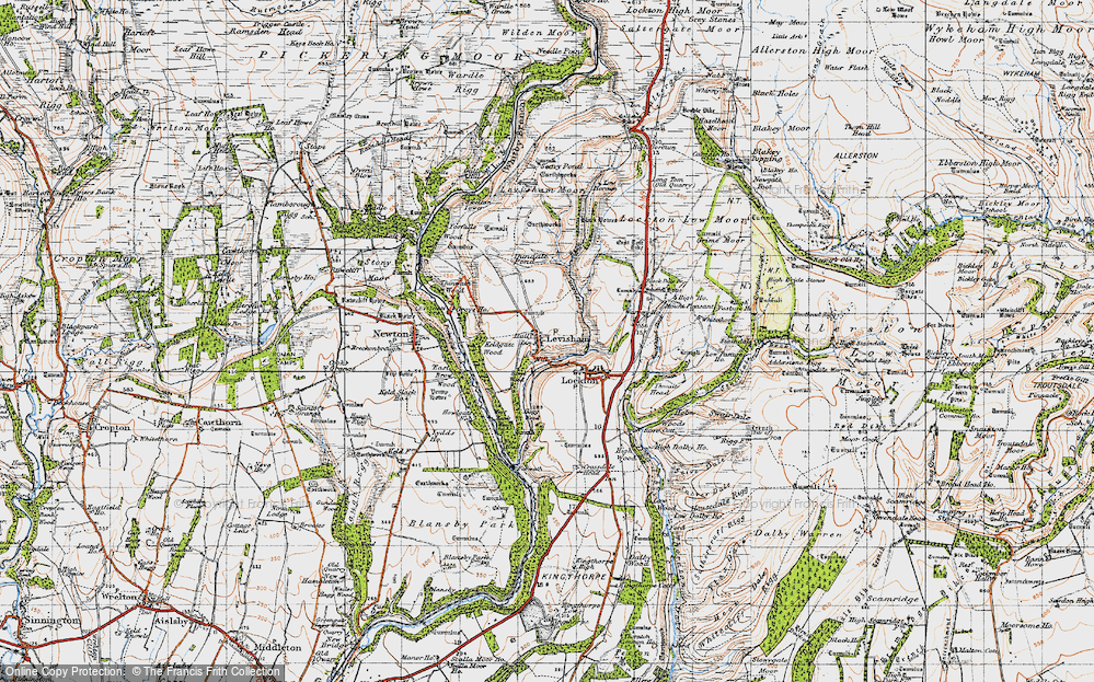 Old Map of Historic Map covering Levisham Beck in 1947