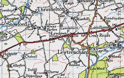 Old map of Lewdown in 1946