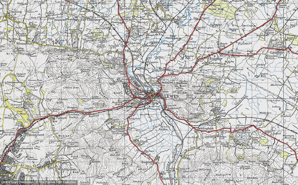 Old Map of Lewes, 1940 in 1940