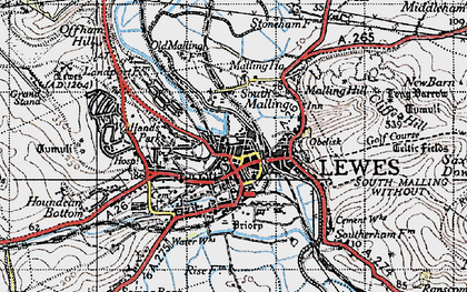 Old map of Lewes in 1940