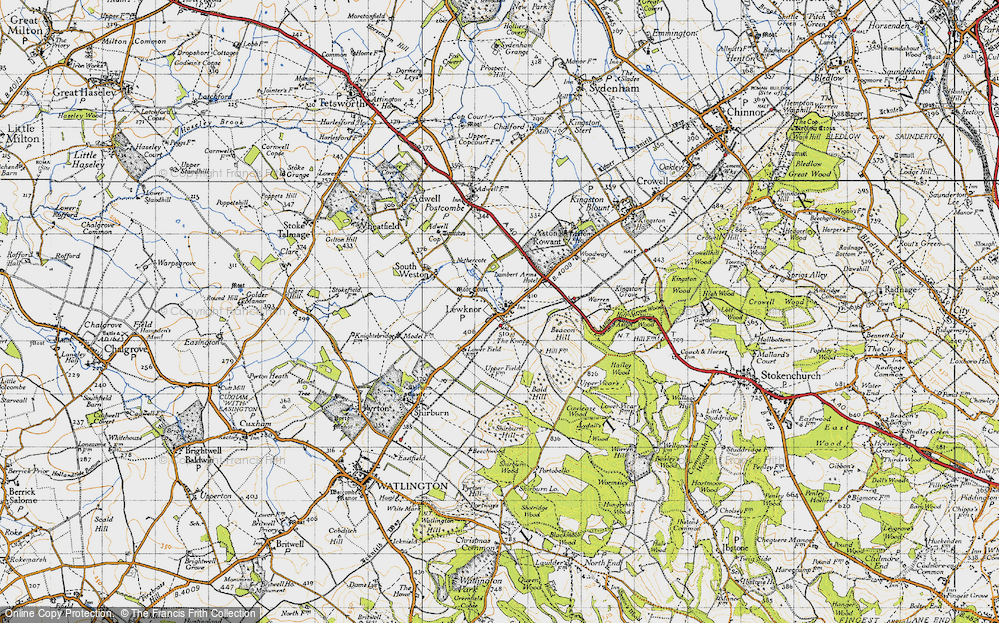 Old Map of Historic Map covering Aston Rowant National Nature Reserve in 1947