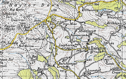 Old map of Bag Tor in 1946
