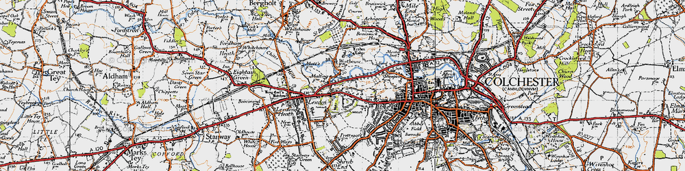 Old map of Lexden in 1945