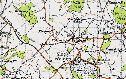 Old map of Ley Green in 1946
