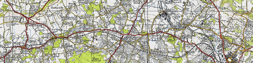 Old map of Leybourne in 1946