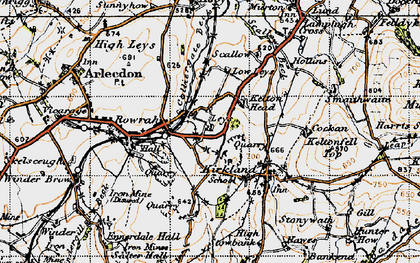 Old map of Leys in 1947