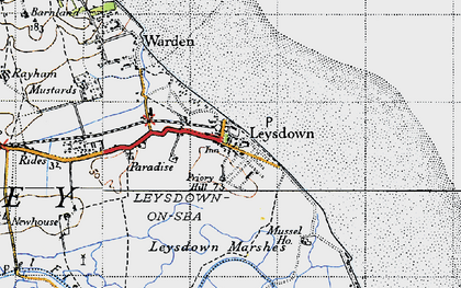 Old map of Leysdown Marshes in 1946