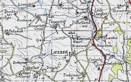 Old map of Lezant in 1946