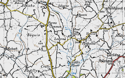 Old map of Lezerea in 1946