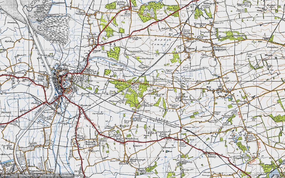 Old Map of Leziate, 1946 in 1946