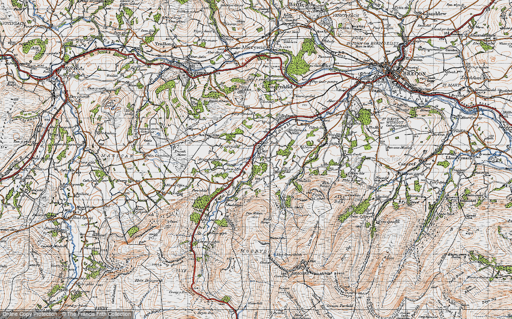 Old Map of Historic Map covering Afon Tarell in 1947