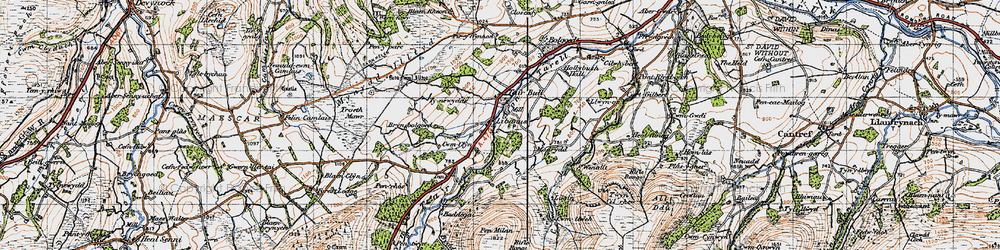 Old map of Afon Tarell in 1947