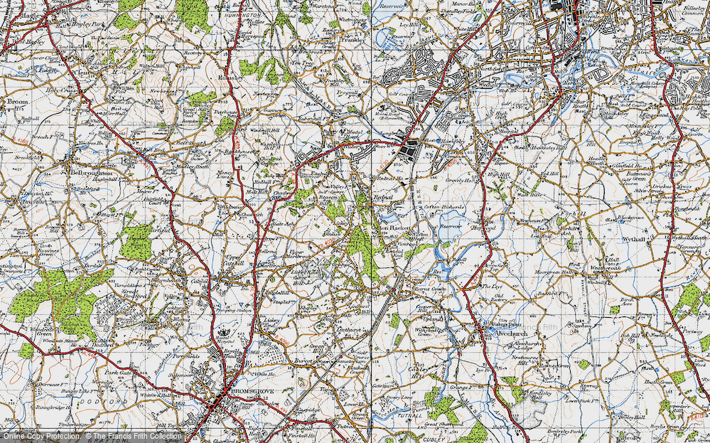Old Map of Historic Map covering Lickey Hills in 1947