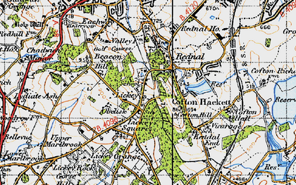 Old map of Lickey Hills in 1947