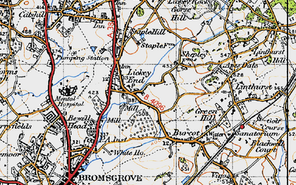 Old map of Lickey End in 1947