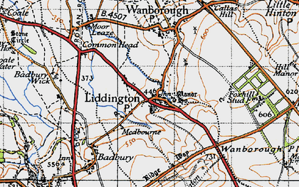 Old map of Liddington Hill in 1947