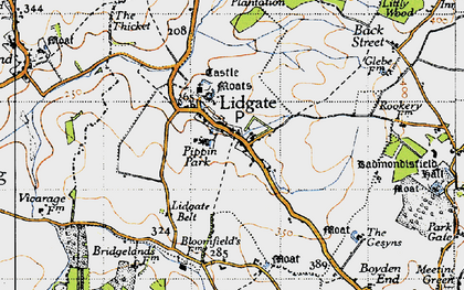 Old map of Lidgate in 1946