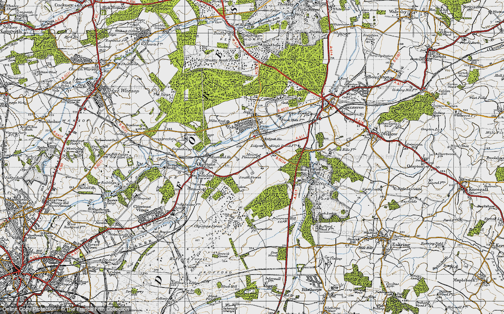 Old Map of Historic Map covering Amen Corner in 1947