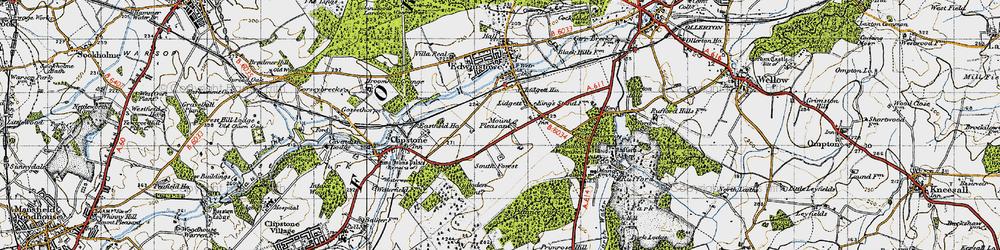 Old map of Amen Corner in 1947