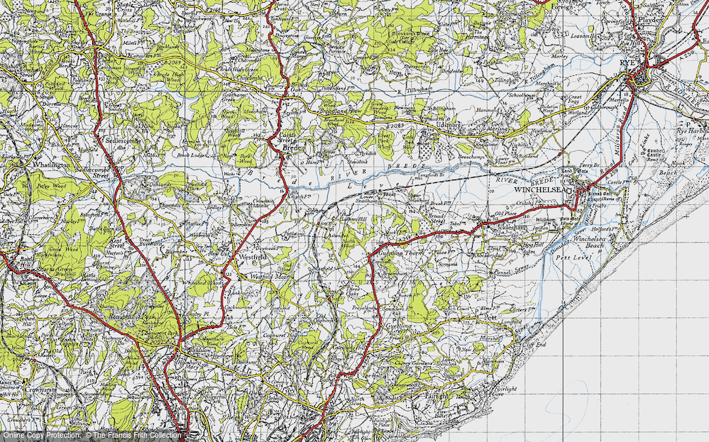 Old Map of Historic Map covering Ashenden in 1940