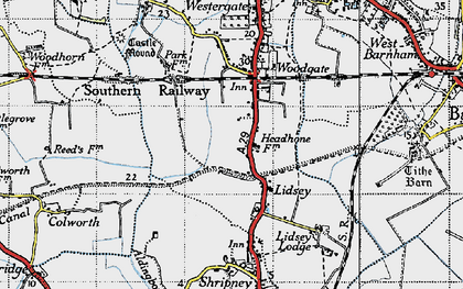 Old map of Lidsey in 1945