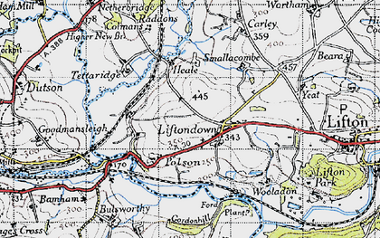 Old map of Liftondown in 1946