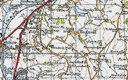 Old map of Light Oaks in 1946