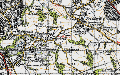 Old map of Lightwood in 1947