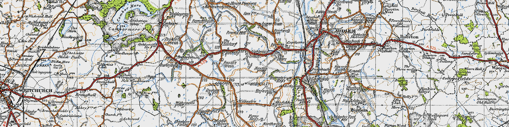 Old map of Lightwood Green in 1947