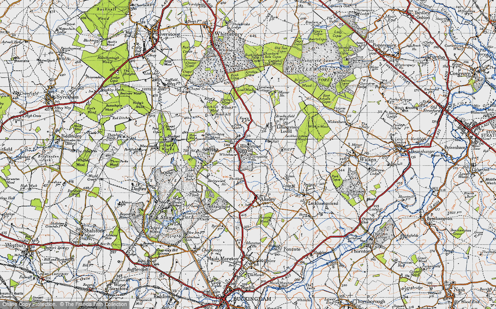 Old Map of Historic Map covering Tilehouse Wood in 1946