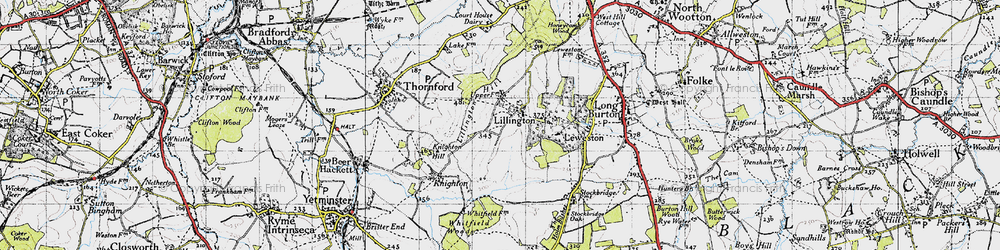 Old map of Lillington in 1945
