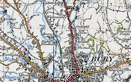 Old map of Limefield in 1947