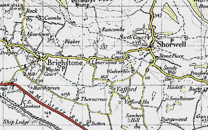 Old map of Limerstone in 1945