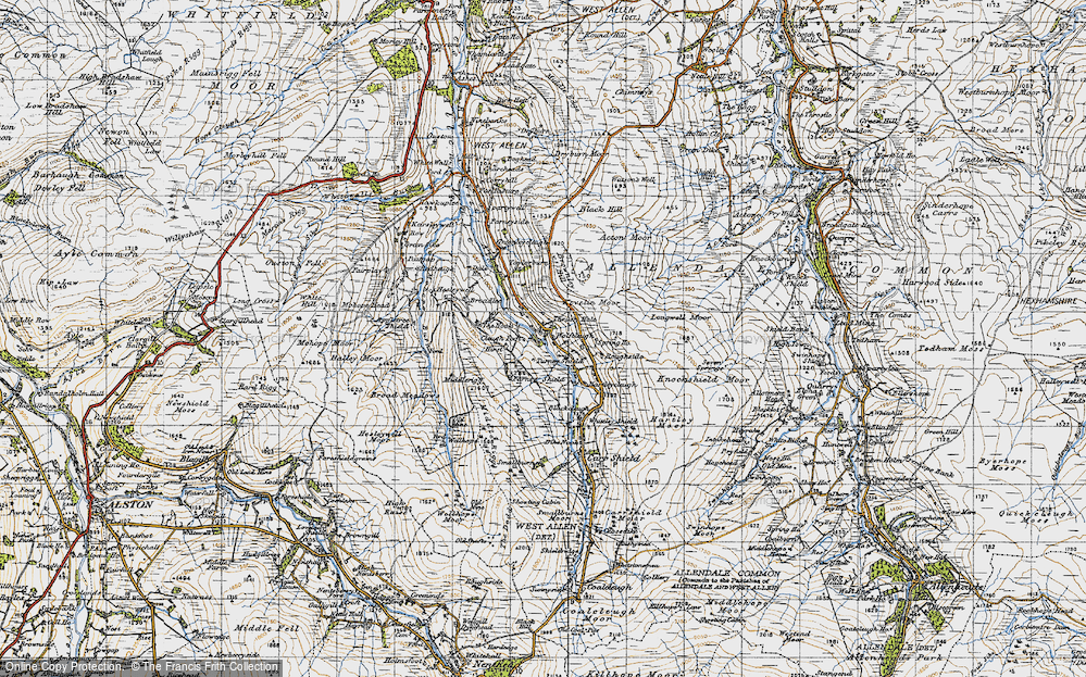 Old Map of Historic Map covering Acton Moor in 1947