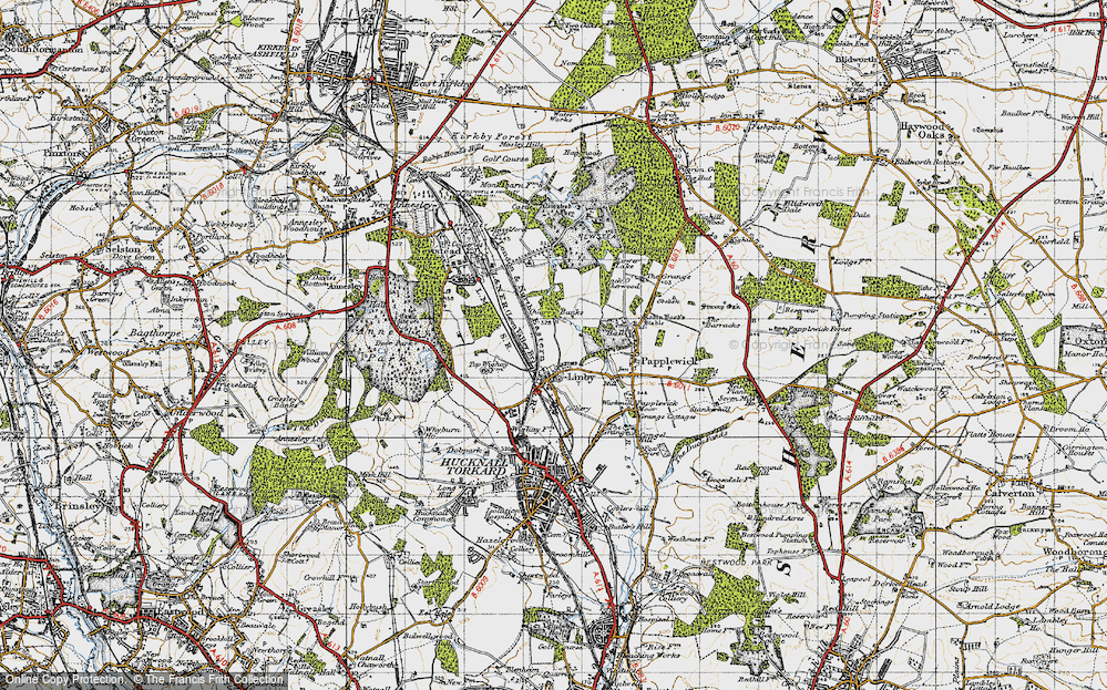 Old Map of Historic Map covering Aldercar Wood in 1946
