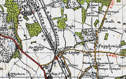 Old map of Aldercar Wood in 1946