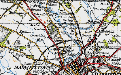 Old map of Lincluden in 1947