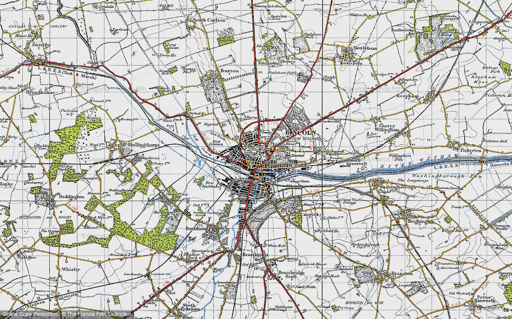 Old Map of Lincoln, 1947 in 1947