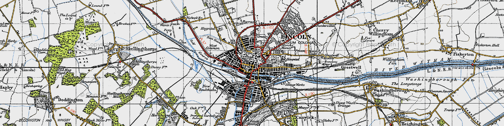 Old map of Lincoln in 1947