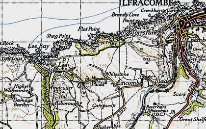 Old map of Lincombe in 1946