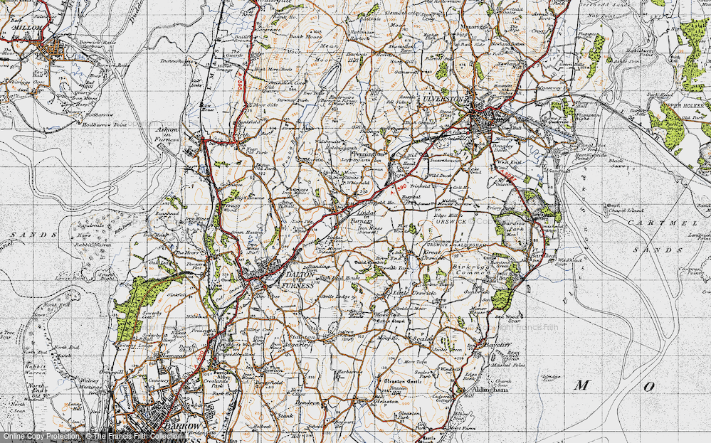 Old Map of Historic Map covering Lindal Cote Cott in 1947