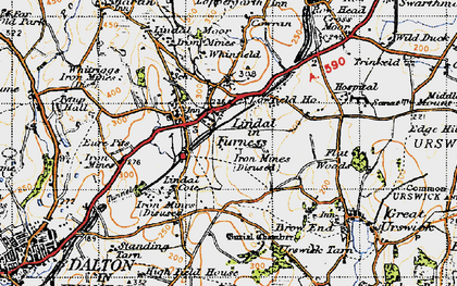 Old map of Lindal Cote Cott in 1947