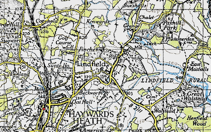 Old map of Lindfield in 1940
