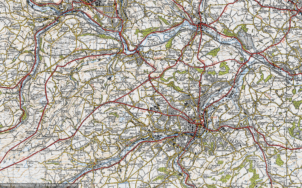 Old Map of Lindley, 1947 in 1947