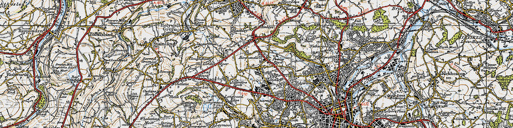 Old map of Lindley in 1947