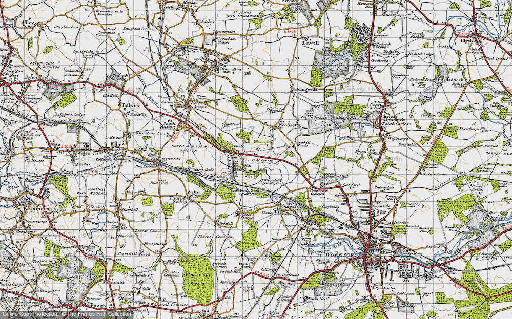 Old Map of Historic Map covering Lindrick Common in 1947