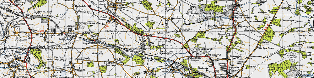 Old map of Anston Stones Wood in 1947