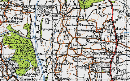 Old map of Wyneyards in 1947