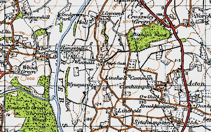 Old map of Lineholt Common in 1947